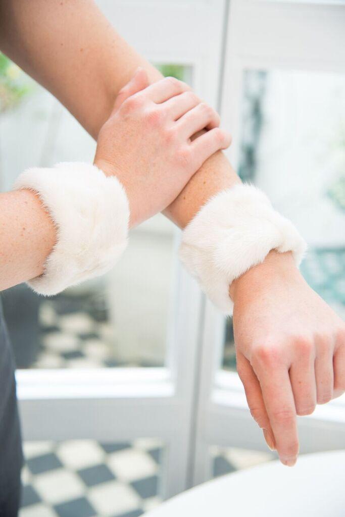 White fur cuffs