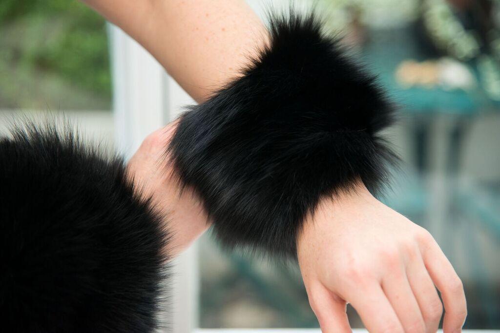 Black fox fur cuffs