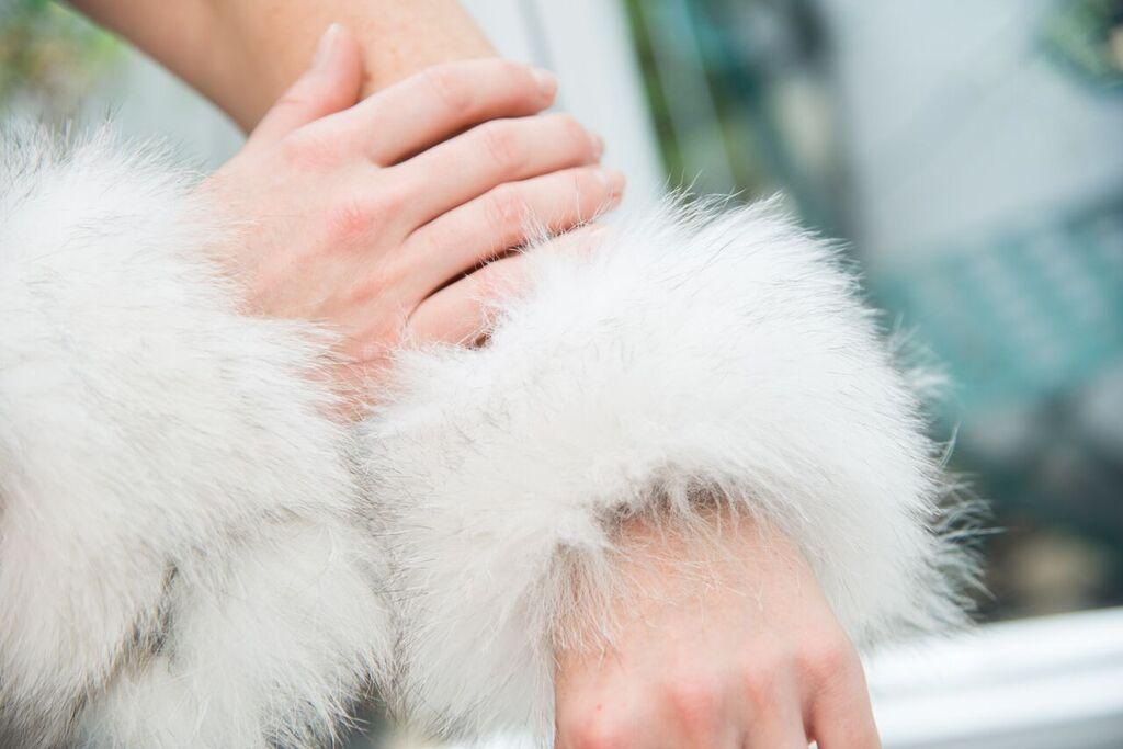 White fox fur cuffs