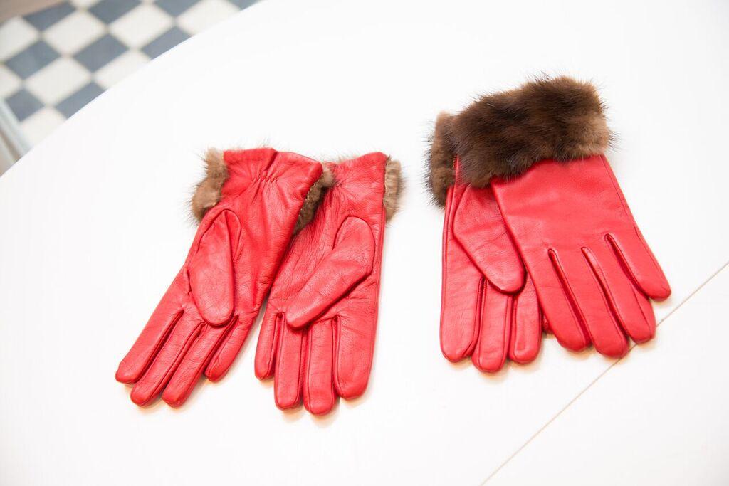 Red leather fur trimmed gloves