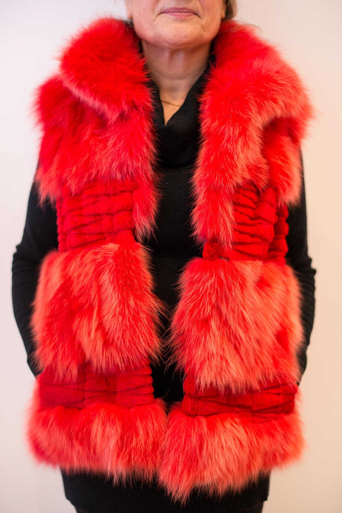 Red fox fur gilet