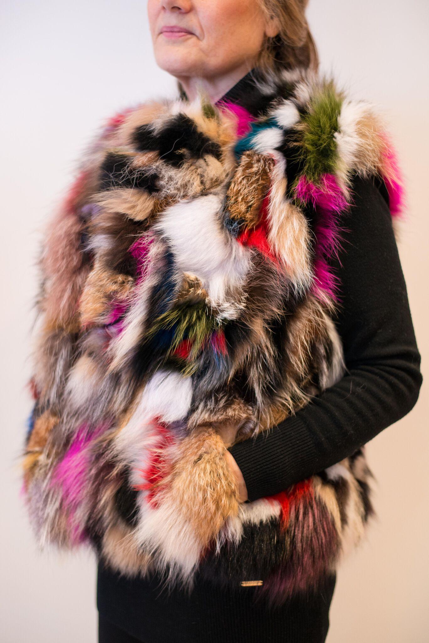 Multi-coloured fur gilet