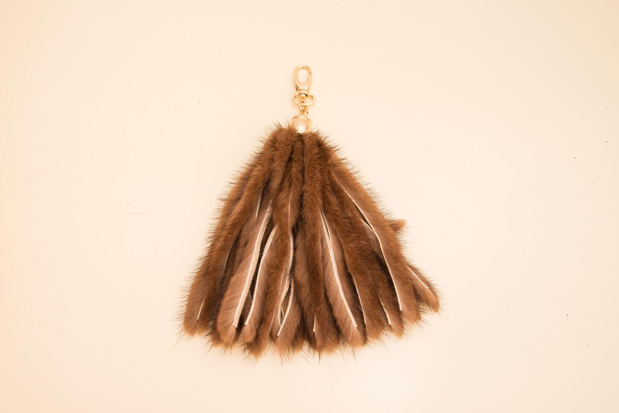 light brown tasselled mink keychain