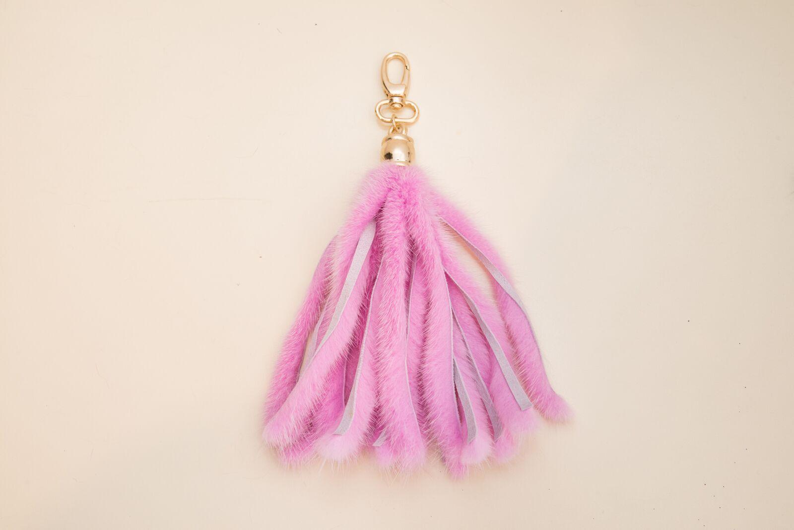 bright pink tasselled mink keychain