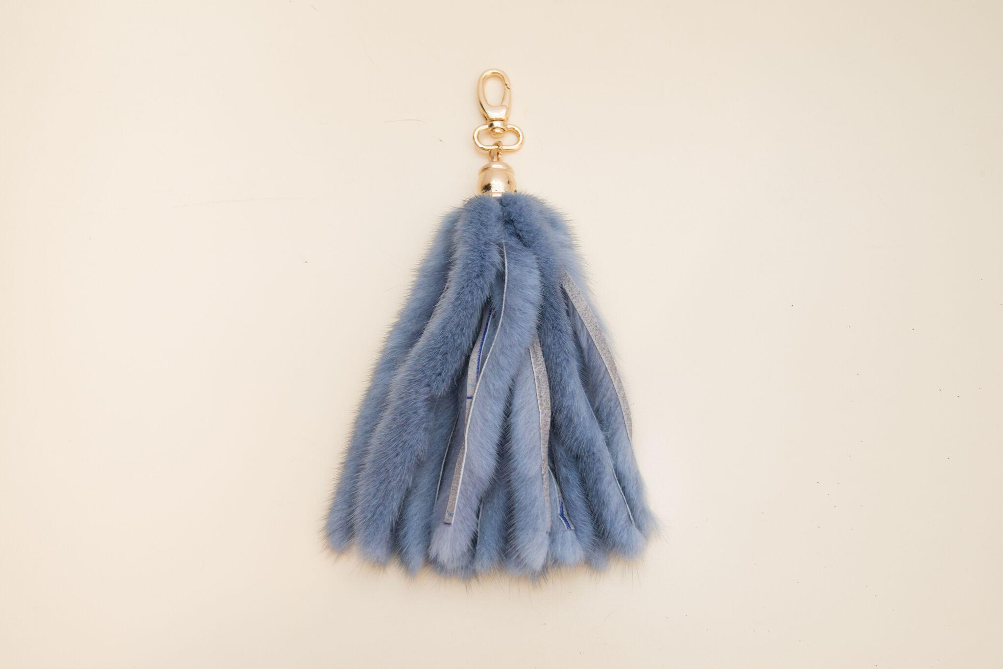 blue tasselled mink keychain
