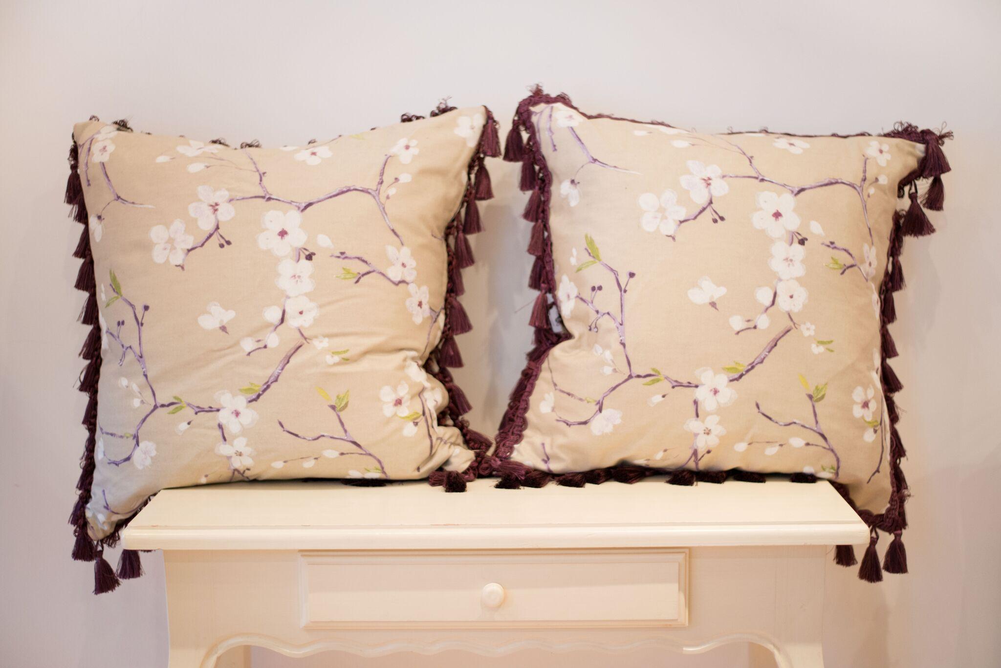 Purple cherry blossom cushion