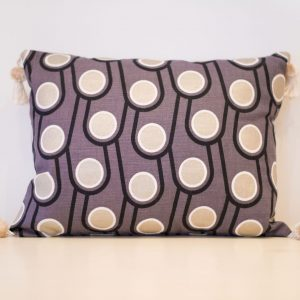 Grey and gold circles cushion