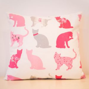 Pink and grey cat cushion