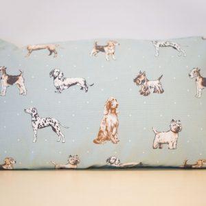 Pale blue dogs cushion