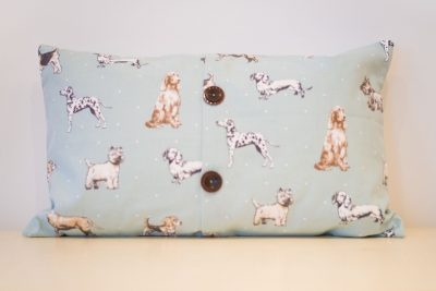 Pale blue dogs cushion