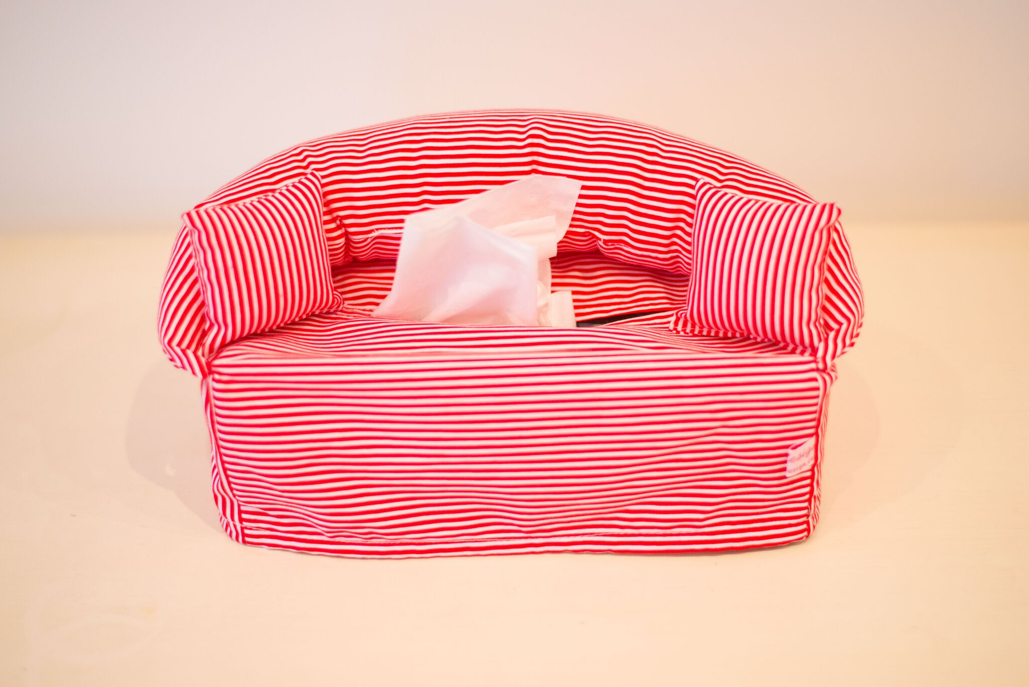 Red and White Striped Tissue Box